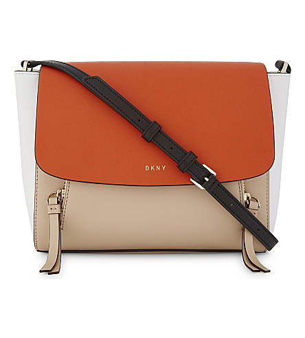 DKNY Greenwich small tri-colour leather messenger bag (Nude/orange