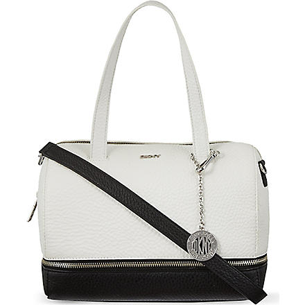 DKNY Tribeca leather bowling bag (White/black
