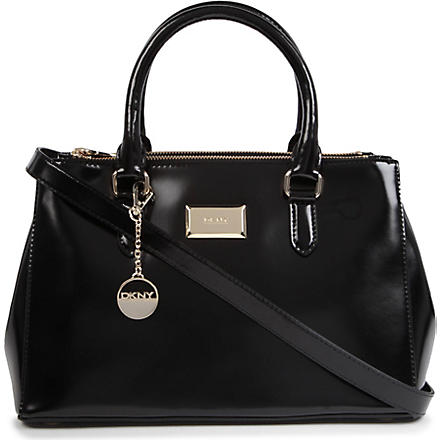 DKNY Hudson patent leather shopper (Black