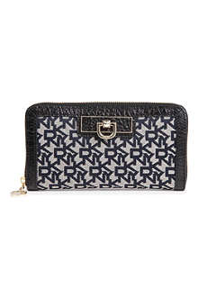 DKNY Town & Country twill and leather wallet