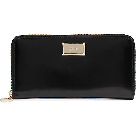 DKNY Hudson patent leather wallet (Black