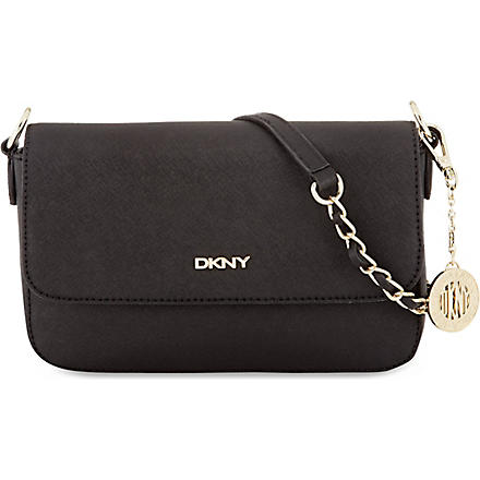 DKNY Flap leather cross-body bag (Black