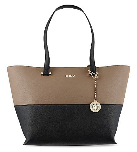 DKNY Saffiano leather logo tote (Blk/desert