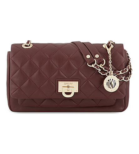 DKNY Quilted leather shoulder bag (Bordeaux