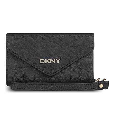 DKNY Saffiano leather iPhone purse (Black