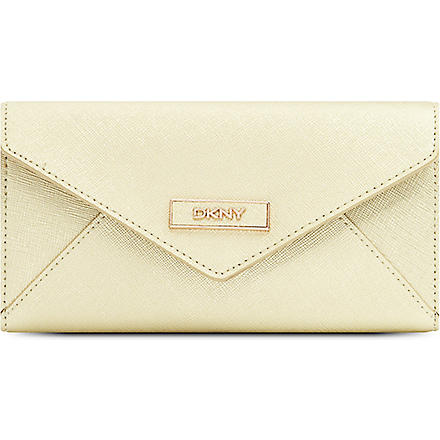 DKNY Saffiano leather envelope wallet (Gold