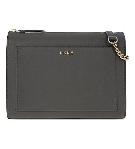 DKNY Bryant Park medium Saffiano leather box cross-body bag (Dk+charcoal