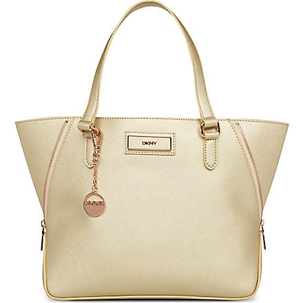 DKNY Saffiano leather tote (Gold/gold