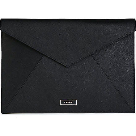 DKNY Saffiano leather pouch (Black/rose gold