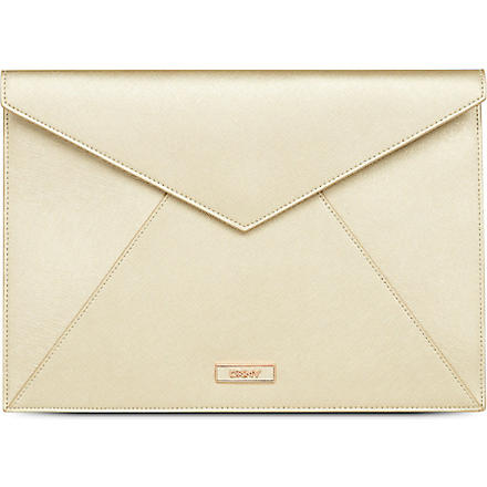 DKNY Saffiano leather envelope pouch (Gold