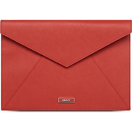 DKNY Saffiano leather envelope pouch (Red