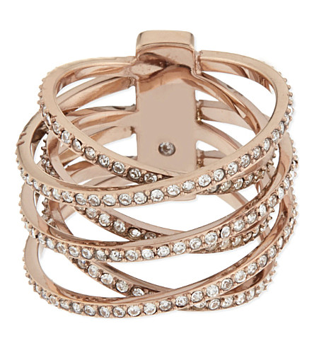 MICHAEL KORS JEWELLERY Brilliance pavé criss-cross ring (Rosegold