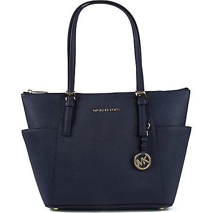 MICHAEL MICHAEL KORS Jet Set top-zip saffiano leather tote (Navy