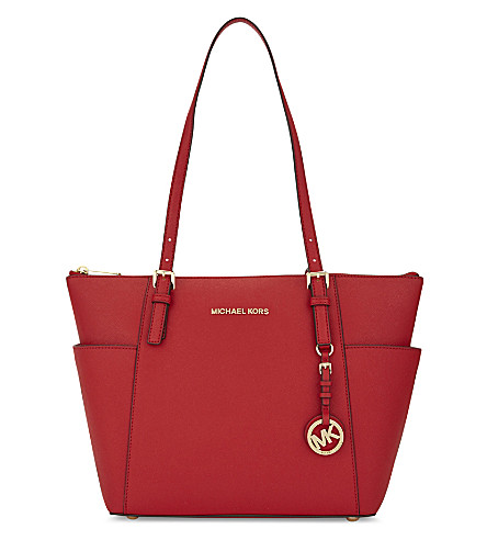 MICHAEL MICHAEL KORS Jet Set leather tote (Bright+red