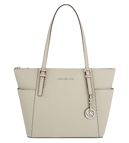 MICHAEL MICHAEL KORS Jet Set Saffiano leather trapeze tote (Cement