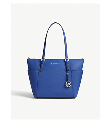 MICHAEL MICHAEL KORS Jet Set leather trapeze tote (Elctric+blue
