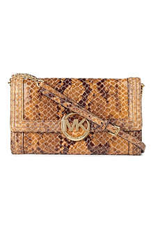MICHAEL KORS Bombe mock-python leather clutch