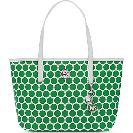 MICHAEL KORS Kiki polka-dot tote (White/palm