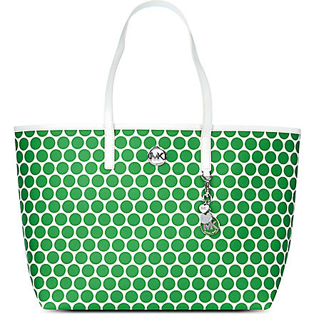 MICHAEL KORS Kiki polka-dot medium tote (White/palm
