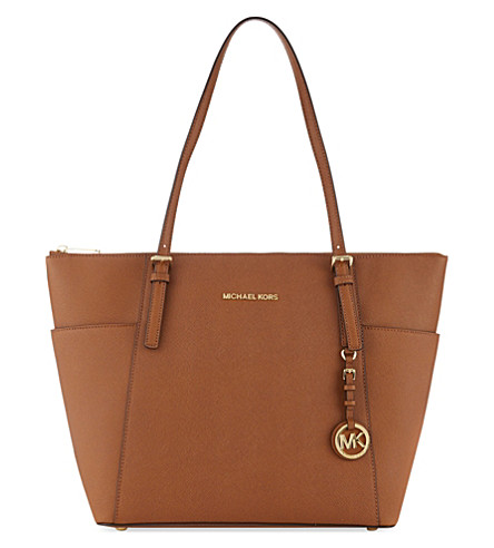 MICHAEL MICHAEL KORS Jet Set Saffiano leather tote (Luggage