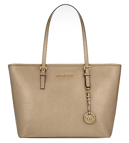 MICHAEL MICHAEL KORS Jet Set Item Saffiano leather tote bag (Pale+gold