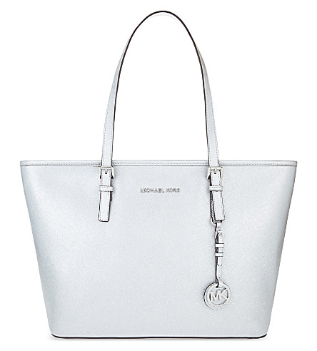 MICHAEL MICHAEL KORS Jet set travel leather tote (Silver
