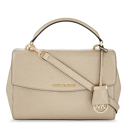 MICHAEL MICHAEL KORS Ava medium leather satchel (Pale+gold
