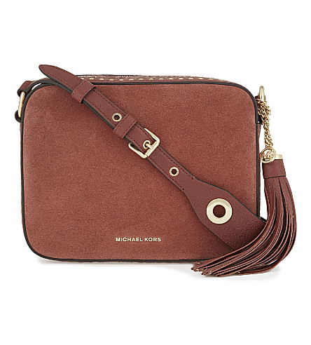 MICHAEL MICHAEL KORS Brooklyn large suede and leather camera bag (Brick