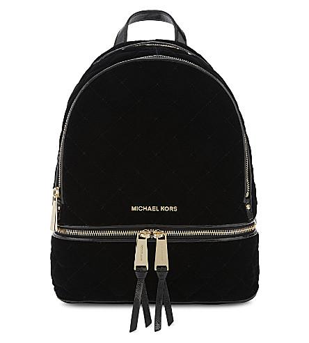 MICHAEL MICHAEL KORS Rhea medium velvet backpack (Black