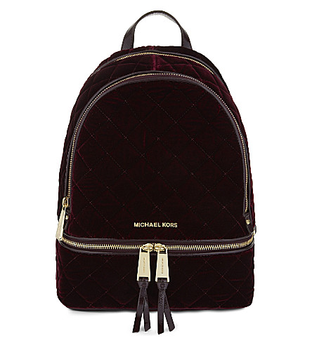MICHAEL MICHAEL KORS Rhea medium velvet backpack (Plum