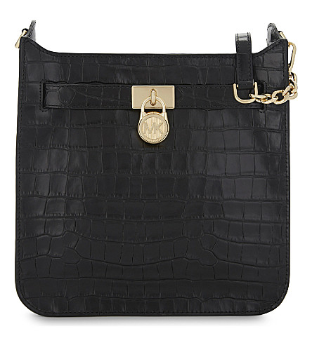 MICHAEL MICHAEL KORS Hamilton crocodile-embossed leather shoulder bag (Black