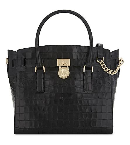 MICHAEL MICHAEL KORS Hamilton croc-embossed leather tote bag (Black