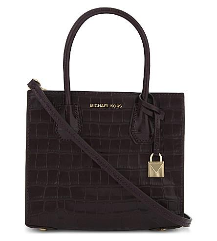MICHAEL MICHAEL KORS Mercer medium crocodile embossed leather shoulder bag (Damson