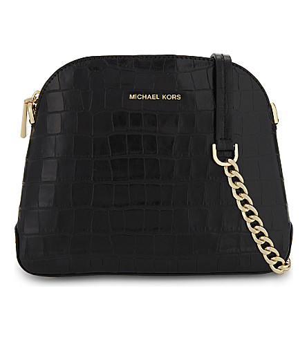 MICHAEL MICHAEL KORS Mercer medium crocodile embossed leather cross-body bag (Black