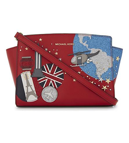 MICHAEL MICHAEL KORS Selma leather cross-body bag (Bright+red