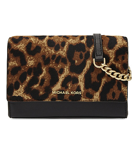 MICHAEL MICHAEL KORS Ruby medium leopard-print leather and haircalf clutch (Butterscotch