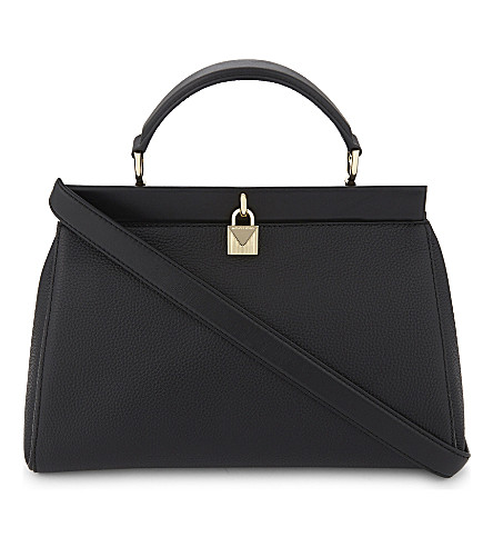 MICHAEL MICHAEL KORS Gramercy frame large grained leather satchel (Black