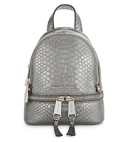 MICHAEL MICHAEL KORS Rhea extra-small crocodile-embossed leather backpack (Pewter