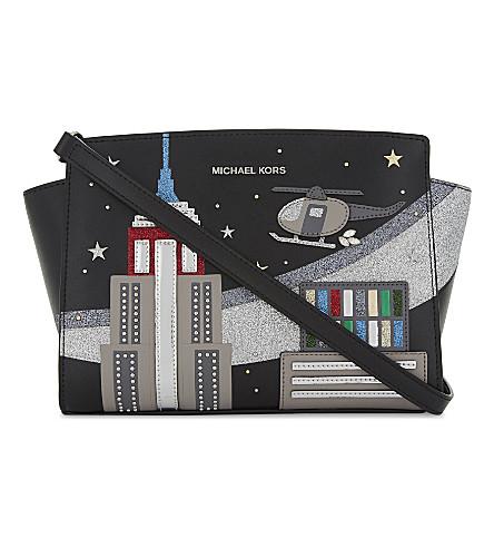 MICHAEL MICHAEL KORS Selma skyline leather cross-body bag (Black
