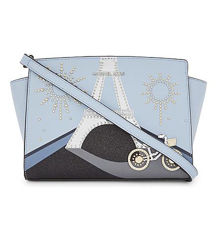 MICHAEL MICHAEL KORS Selma leather cross-body bag (Pale+blue