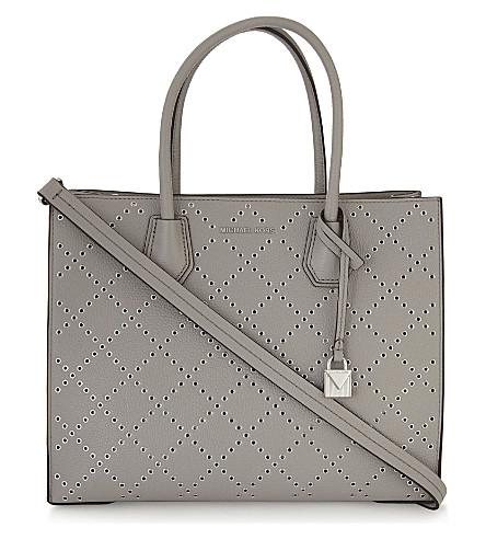 MICHAEL MICHAEL KORS Mercer Grommeted leather tote bag (Pearl+grey