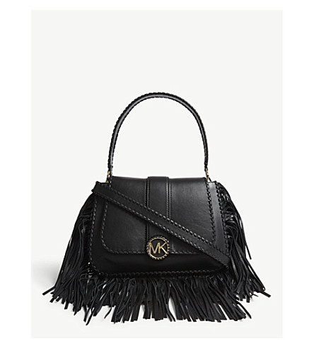 65a0c415f188 ... MICHAEL MICHAEL KORS Lillie fringed leather shoulder bag (Black.  PreviousNext