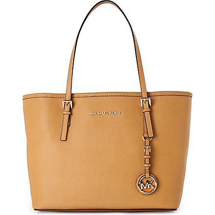 MICHAEL KORS Jet Set Travel small saffiano leather tote (Tan