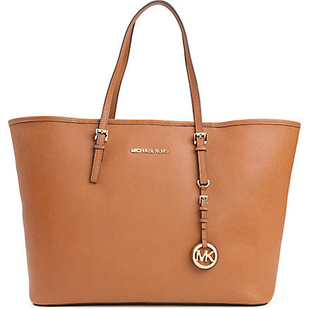 MICHAEL KORS Jet Set Travel medium saffiano leather tote (Luggage