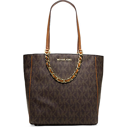 MICHAEL KORS Harper chain saffiano tote (Brown
