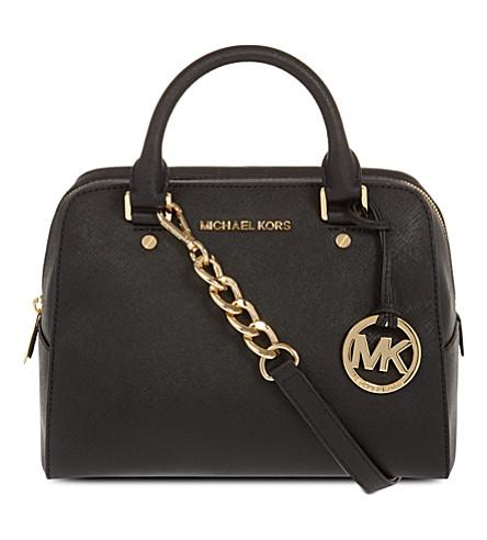 MICHAEL MICHAEL KORS Jet Cet Travel leather satchel (Black