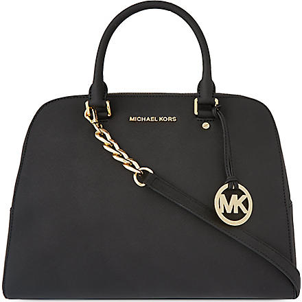 MICHAEL KORS Saffiano leather satchel (Black
