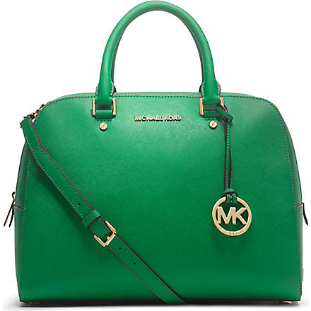 MICHAEL KORS Jet Set saffiano leather satchel (Palm