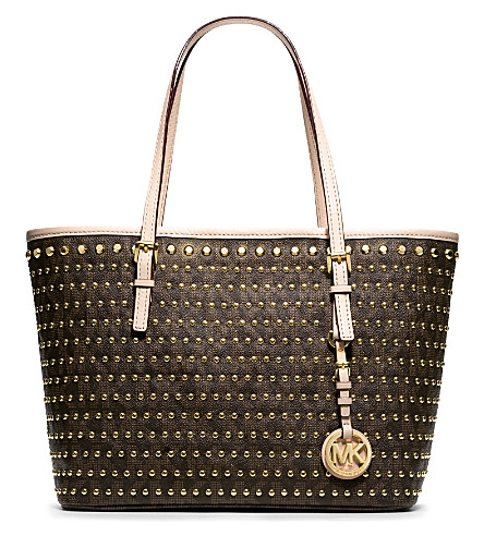 MICHAEL MICHAEL KORS Jet Set small studded travel tote (Brown