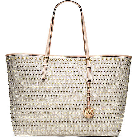 MICHAEL KORS Jet Set medium studded travel tote (Vanilla